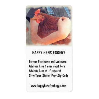 Farmer Hugging Chicken Painted Style Shipping Label