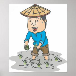 Farmer In A Rice Field Poster