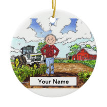 Farmer - Male, White Tractor Ceramic Ornament