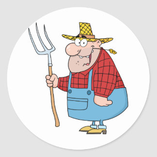 Farmer Man Carrying A Rake Classic Round Sticker
