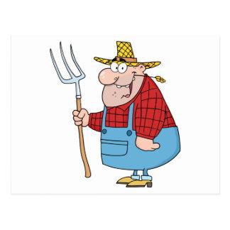Farmer Man Carrying A Rake Postcard