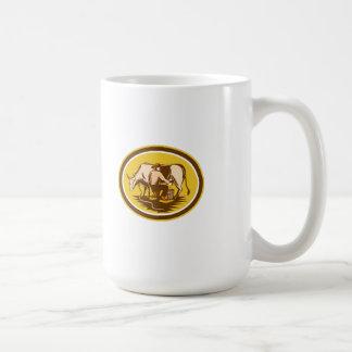 Farmer Milking Cow Oval Woodcut Classic White Coffee Mug
