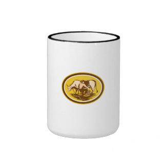 Farmer Milking Cow Oval Woodcut Ringer Coffee Mug