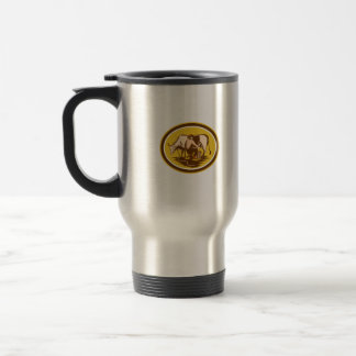 Farmer Milking Cow Oval Woodcut 15 Oz Stainless Steel Travel Mug