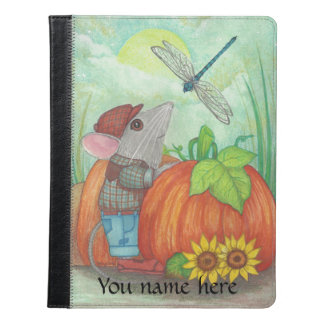 Farmer Mouse with Dragonfly at Pumpkin Patch iPad Case
