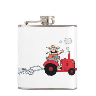 Farmer On A Tractor Flask