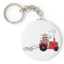 Farmer On A Tractor Keychain