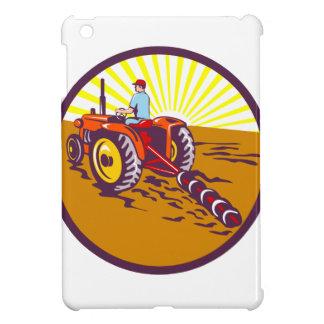 Farmer On Tractor Circle Retro iPad Mini Case