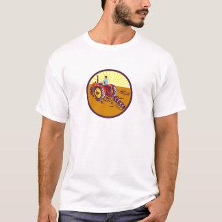 Farmer On Tractor Circle Retro T-Shirt