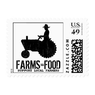 Farmer on Tractor Pro-Farm Message Postage Stamp