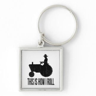 Farmer on  Tractor This is How I ROLL Keychain