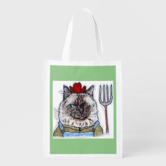 Farmer Oscar shops for catnip Reusable Grocery Bag