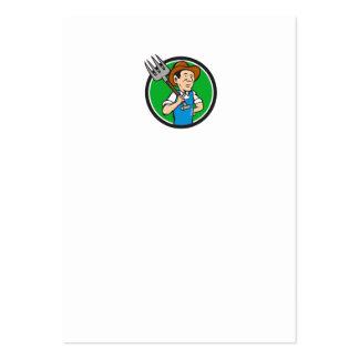 Farmer Pitchfork On Shoulder Circle Cartoon Large Business Card