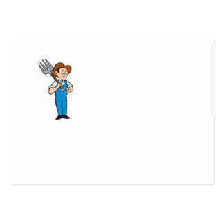Farmer Pitchfork Shoulder Standing Cartoon Large Business Card