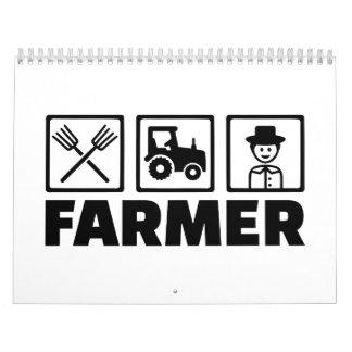 Farmer pitchfork tractor calendar