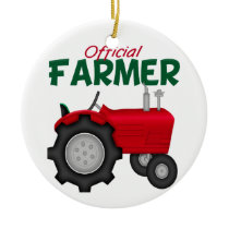 Farmer  Red Tractor Ceramic Ornament
