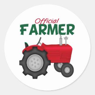 Farmer  Red Tractor Classic Round Sticker