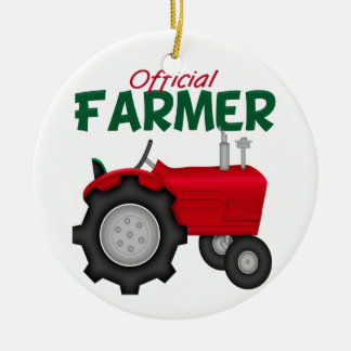 Farmer  Red Tractor Double-Sided Ceramic Round Christmas Ornament