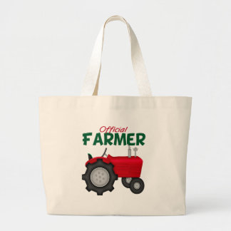 Farmer  Red Tractor Large Tote Bag