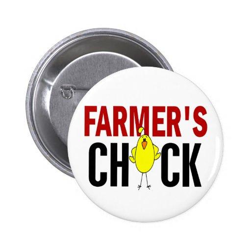 Farmer's Chick Pinback Button