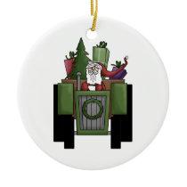 Farmer Santa Ceramic Ornament