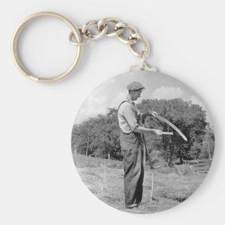 Farmer Sharpening a Scythe, 1930s Basic Round Button Keychain