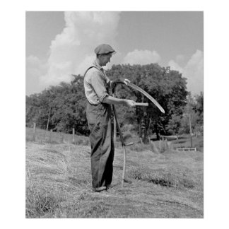 Farmer Sharpening Scythe, 1937 Poster