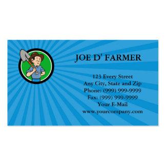 Farmer Shovel Shoulder Circle Cartoon Business car Business Card