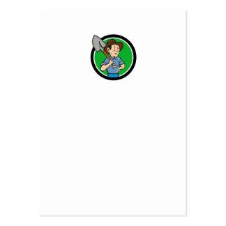 Farmer Shovel Shoulder Circle Cartoon Large Business Card