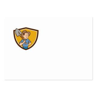 Farmer Shovel Shoulder Crest Cartoon Large Business Card
