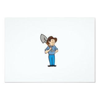 Farmer Shovel Shoulder Standing Cartoon Card