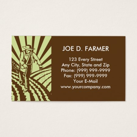 Farmer Sowing Seeds in a Plowed Field Business Card Templates