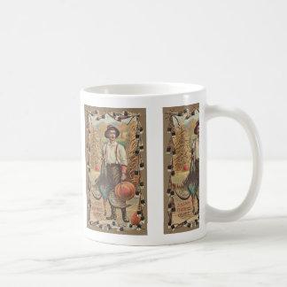 Farmer Turkey Pumpkin Corn Shock Feathers Coffee Mug