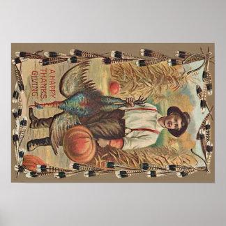 Farmer Turkey Pumpkin Corn Shock Feathers Poster