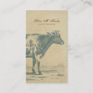 Animal business cards 29700 animal business card templates farmer vintage dairy cow simple rustic cool animal business card colourmoves