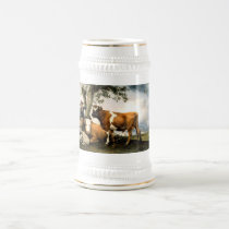 Farmer with cows and sheep beer stein