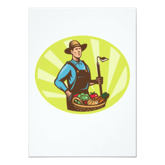 Farmer With Garden Hoe And Basket Crop Harvest 4.5x6.25 Paper Invitation Card