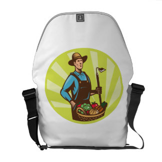 Farmer With Garden Hoe And Basket Crop Harvest Courier Bags