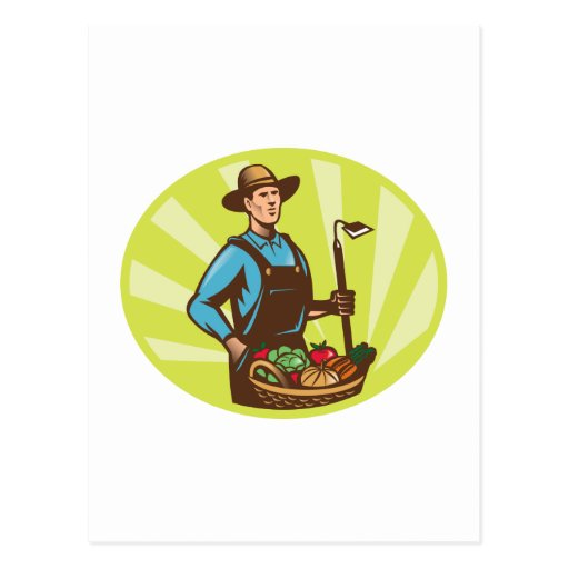 Farmer With Garden Hoe And Basket Crop Harvest Post Cards