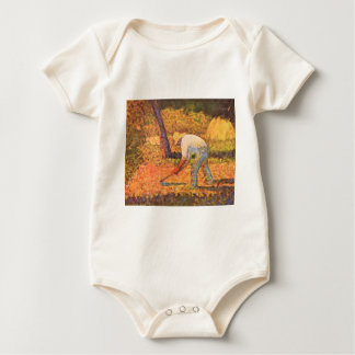 Farmer with hoe by Georges Seurat Baby Bodysuit