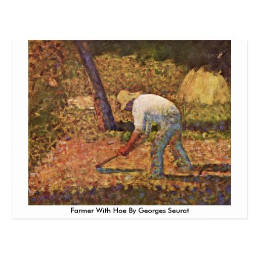 Farmer With Hoe By Georges Seurat Postcard