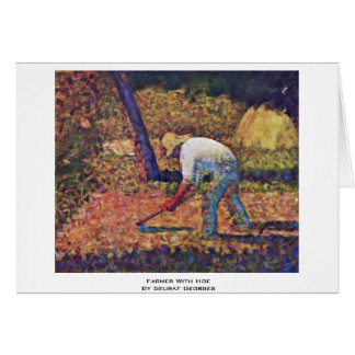 Farmer With Hoe By Seurat Georges Greeting Card