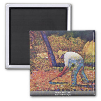 Farmer With Hoe By Seurat Georges Refrigerator Magnets