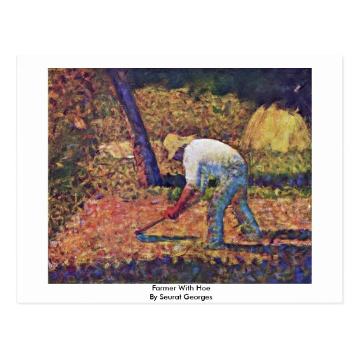Farmer With Hoe By Seurat Georges Post Card