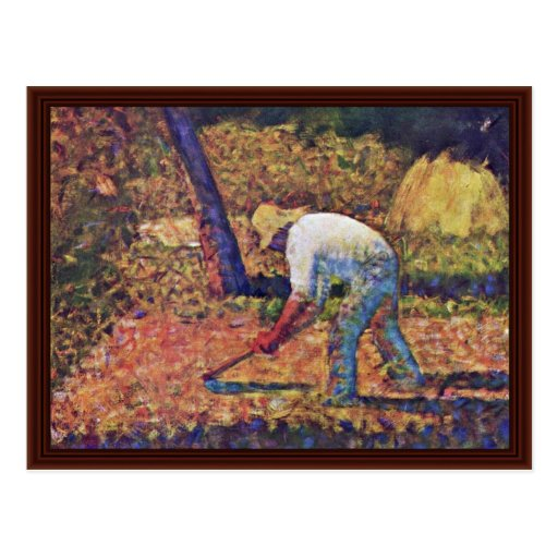 Farmer With Hoe By Seurat Georges Post Cards