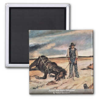 Farmer With Horse Collapsed By Fattori Giovanni 2 Inch Square Magnet
