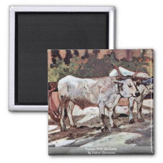 Farmer With Ox-Carts By Fattori Giovanni 2 Inch Square Magnet