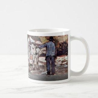 Farmer With Ox-Carts By Fattori Giovanni Classic White Coffee Mug