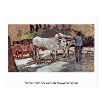 Farmer With Ox Carts By Giovanni Fattori Postcard