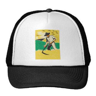 Farmer with Scythe Harvesting Crop Retro Mesh Hat
